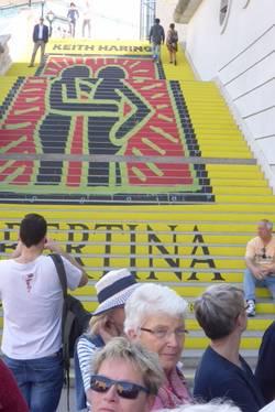 Auffällig gestaltete Treppe